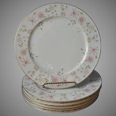 Sango Astral 6 Dinner Plates Vintage Pink Peach Flowers Mid Century