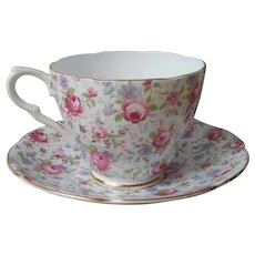 Chintz English Bone China Cup Saucer Vintage Collingwoods Roses Violets