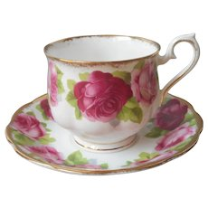 Royal Albert Old English Rose Cup Saucer Hampton Shape Vintage Bone China