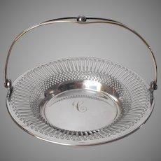 Monogram C Bonbon Basket Antique Silver Plated Pierced