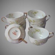 Haviland Limoges 8 Antique Cups Green Pink China Made For Van Heusen Charles