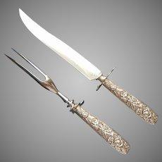 Sterling Silver Carving Knife Fork Set Repousse Handles Ornate Vintage