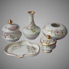Vanity Set Antique Hand Painted Studio China Limoges Blanks Pink Flowers