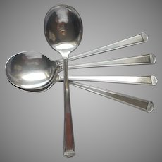Anniversary 1923 Soup Spoons Vintage Silver Plated