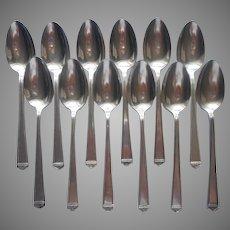 Anniversary 1923 12 Teaspoons Vintage Silver Plated