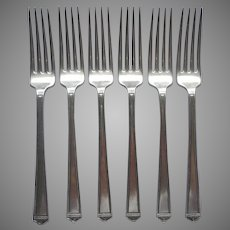 Anniversary 1923 6 Dinner Forks Vintage Silver Plated