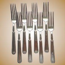 Anniversary 1923 8 Dinner Forks Vintage Silver Plated