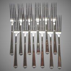 Anniversary 1923 12 Dinner Forks Vintage Silver Plated