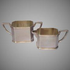 1920s Sugar Bowl Creamer Silver Plated Vintage Handsome Simple Heavy