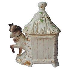 Tobacco Jar Setter Dog Thatched House Shamrocks Antique Germany Porcelain Humidor