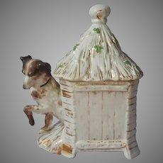 Tobacco Jar Setter Thatched Dog House Shamrocks Antique Germany Porcelain Humidor