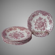 Crown Ducal Bristol Pink Transferware 6 Saucers Vintage English China