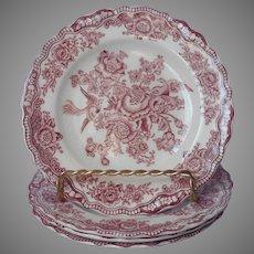Crown Ducal Bristol Pink Transferware 4 Bread Plates Vintage English China