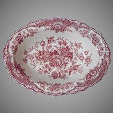 Crown Ducal Bristol Pink Transferware Vegetable Serving Bowl Vintage English China