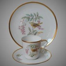 Audubon Yellow Warbler Hutschenreuther Porcelain Trio Cup Saucer Tea Plate Vintage