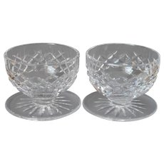 Waterford Boyne Cut Crystal Glass 2 Dessert Bowls Footed Vintage
