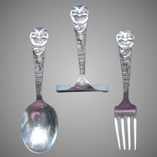 Sterling Silver Webster Man In The Moon Baby Toddler Spoon Fork Food Pusher Antique