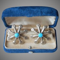 Native American Sterling Silver Turquoise Pierced Earrings Large Starburst