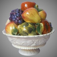 Italy Mid Century Majolica Pottery Fruit Vegetable Sculpture Centerpiece Vintage