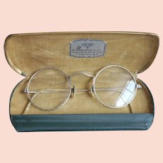 White Gold Filled Eyeglasses Round Rims Vintage Engraved Decoration All Around