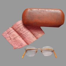 Gold Filled Eyeglasses Rimless Vintage Engraved Nose Piece Temples Need Glass