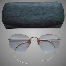 Gold Filled Eyeglasses Half Rims Vintage Engraved Decoration
