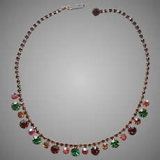 Fall Colors Vintage Rhinestone Necklace Brown Green Amber Pink