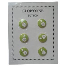 Cloisonne Buttons Vintage ca 1970 Chinese Enamel Lime Green White Flowers