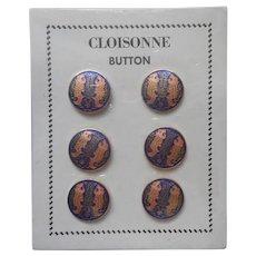 Cloisonne Buttons Vintage ca 1970 Chinese Enamel Fish Blue Peach