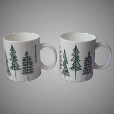 Retired Holiday Christmas Green Pine Trees 2 Mugs Starbucks 12 Ounce