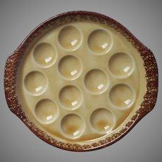 French Escargot Plate Gien Golden Brown Pottery Vintage Spatter Rim