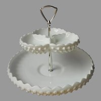 Fenton Hobnail Milk Glass 2 Tier Center Handle Server 3709 Vintage