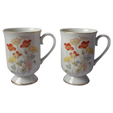 1970s Mugs Fanci Florals Collection Japan Painted Poppy Vintage Porcelain