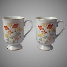 1970s Mugs Fanci Florals Collection Japan Painted Poppy Vintage Porcelain