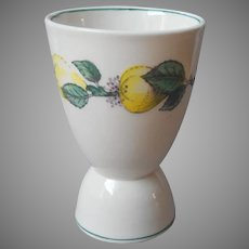 Adams Vermont Egg Cup Vintage Yellow Quince Green Trim English China