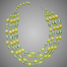 1960s Yellow Green Plastic Beads 4 Strand Necklace Vintage