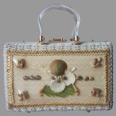 Atlas Princess Charming Purse Vintage Wicker Lucite Sea Shells Florida