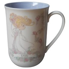 Erin Precious Moments Mug Name Vintage 1990 Lavender Blue Lining