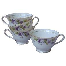 Noritake Nancy 4 Cups Teacups Coffee Vintage Violets Fine China Purple Gold