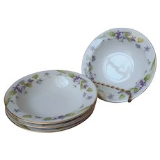 Noritake Nancy 4 Fruit Sauce Bowls Vintage Violets Fine China Purple Gold