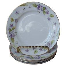 Noritake Nancy 4 Bread Plates Vintage Violets Fine China Purple Gold