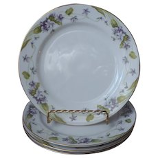 Noritake Nancy 4 Salad Dessert Plates Vintage Violets Fine China Purple Gold