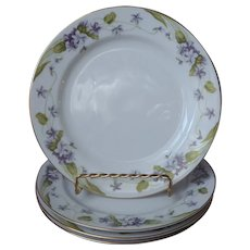 Noritake Nancy 4 Salad Dessert Plates Vintage Violets Fine China Purple Gold