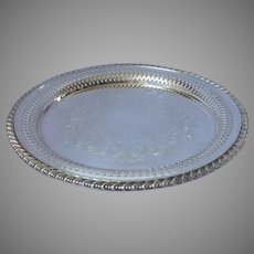 Pierced Rim Small Silver Plated Serving Tray Round Vintage