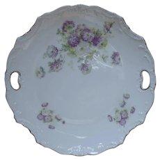 Purple Chrysanthemums Antique China Dessert Serving Plate