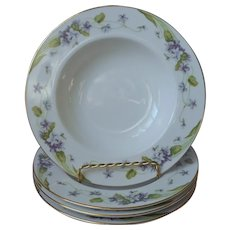 Noritake Nancy 4 Soup Bowls Vintage Violets Fine China Purple Gold