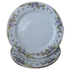 Noritake Nancy 3 Dinner Plates Vintage Violets Fine China Purple Gold