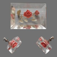 Lucite Roses Vintage Pin Earrings Set Screw Back Pink Green Reverse Carved