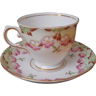1930s Tuscan Bone China Cup Saucer Vintage English Pink Green