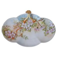 Limoges Hand Painted Tri Lobed Serving Dish Antique Porcelain China